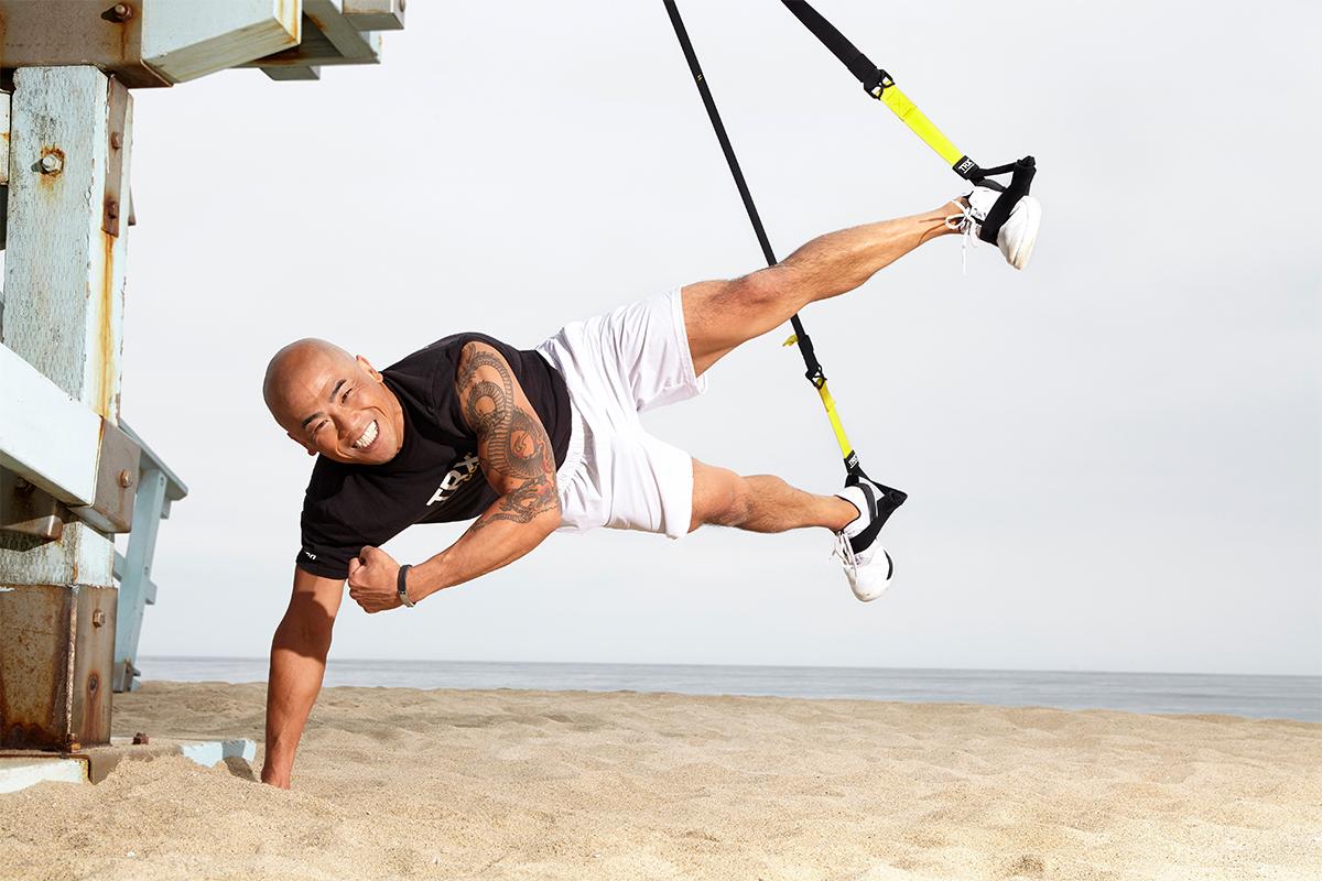 Brian Nguyen doing a TRX workout