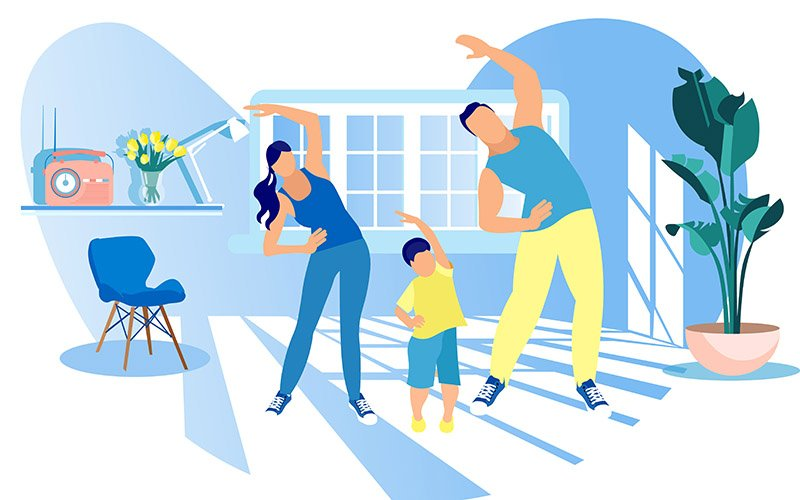 family doing exercises at home to stay fit